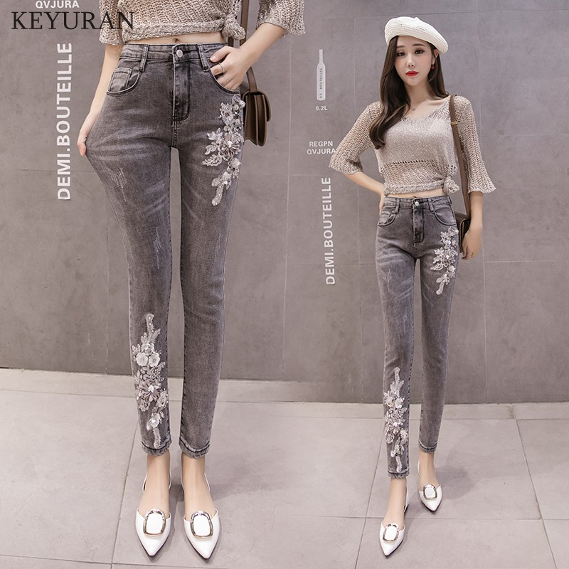 Plus Size 2XL Women Denim Pencil Pants Beaded Embroidery Floral Skinny Gray   Jeans   Cotton Slim Trousers for Woman Trousers 2308