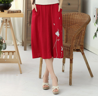 Brand New Navy Blue Chinese Women Cotton Linen Skirt Printed Floral Long Pleated Skirt Elegant Flared