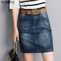 PLAMTEE Women High Waist Vintage Denim Pencil Skirts Summer Pocket Split Back Mini Saia Slim Bandage