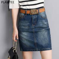 PLAMTEE Women High Waist Vintage Denim Pencil Skirts Summer Pocket Split Back Mini Saia Slim Bandage