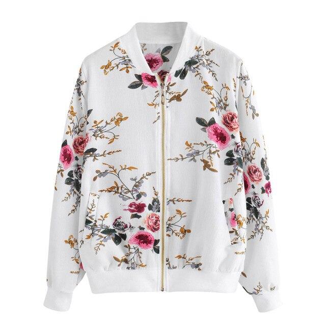 Womens Retro Floral Printing Zipper Up Bomber Jacket Casual Coat Outwear Bomber Jacket Casual Coat Autumn Outwear Women