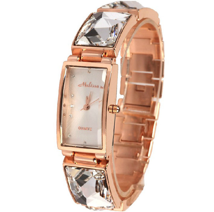 MELISSA Extravagant Big Rhinestone Bangle Watches Women Party Dress Wrist watch Analog Quartz Relojes Montre Femme3ATM M129 time100 vintage women bracelet watch analog quartz rhinestone clasp alloy strap dress wrist watches for women relojes de marca