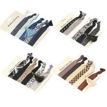 1 set women pattern elastic ponytail bracelets headband girls rope hairband accessories elegant colorful no  crease hair ties