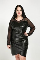 Women S Sexy O Neck Plus Size Faux Leather Dress Long Mesh Sleeve Knee Length Cocktail