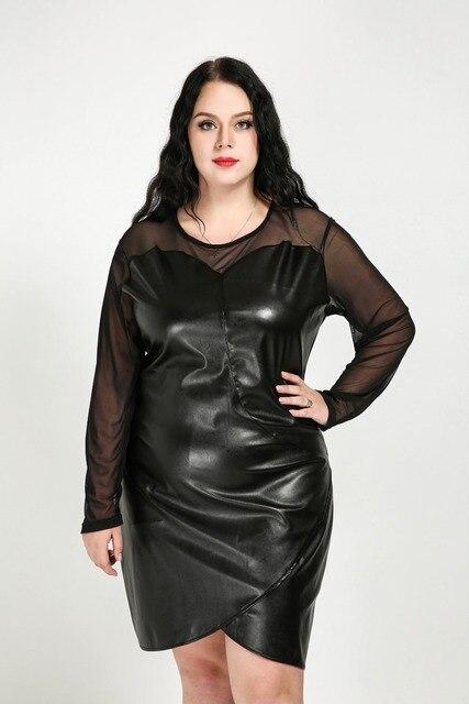 Frauen Sexy Oansatz Plus Größe Faux Leder Kleid Lange Netzärmeln ...