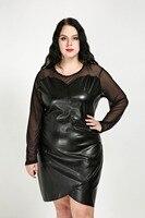 Kadın Seksi O-Boyun Artı Boyutu Faux Deri Elbise Uzun Örgü Kollu Diz Boyu Kokteyl Parti Elbise Sonbahar Kış Rahat elbise