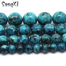 Оптовая продажа натуральный камень голубая пятна яшма круглые