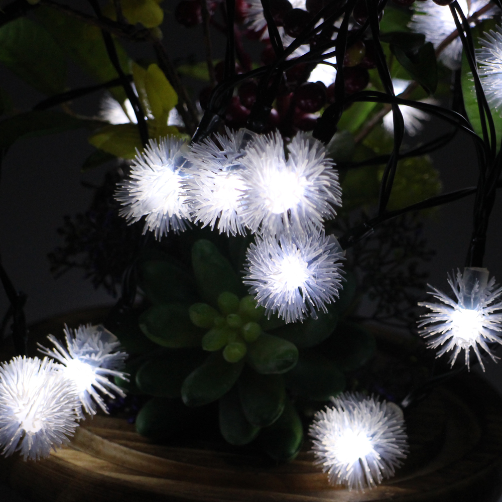 6m 30leds Battery Powered LED String Lights Waterproof Furry Ball Christmas Fairy Lights Wedding Party Garden Holiday Decoration