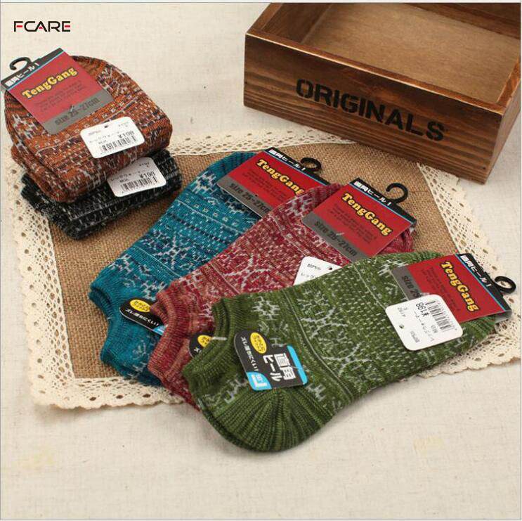 Fcare 16PCS=8 pairs Free shipping fashion Socks male woven pattern sock slippers summer knitting nationalthick sock antibiotic