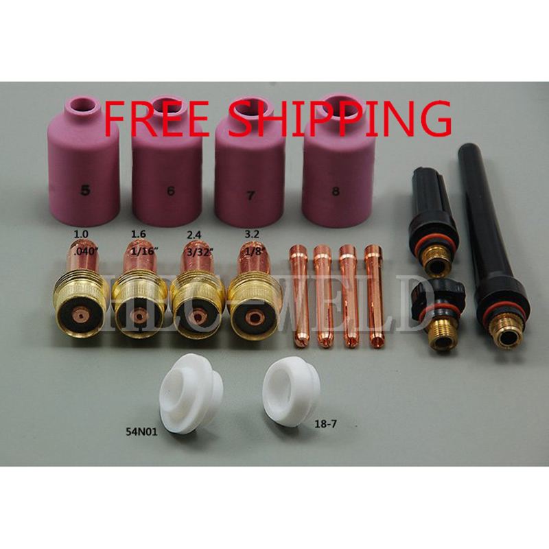 TIG Gas Lens Collet Body Consumables Kit Fit WP 17 18 26 TIG Welding Torch 17Pcs
