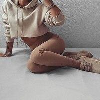 Women's solid color hoodies sport crop top sweatshirt jumper pullover tops