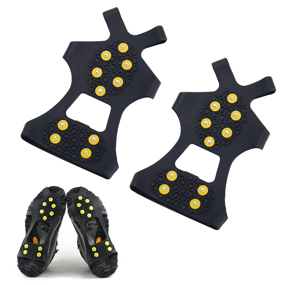 Outdoor Universal Ice Snow Shoe Spiked Grips Cleats Crampons Winter climbing Camping Shoes Anti-Slip Cover Crampons M XL