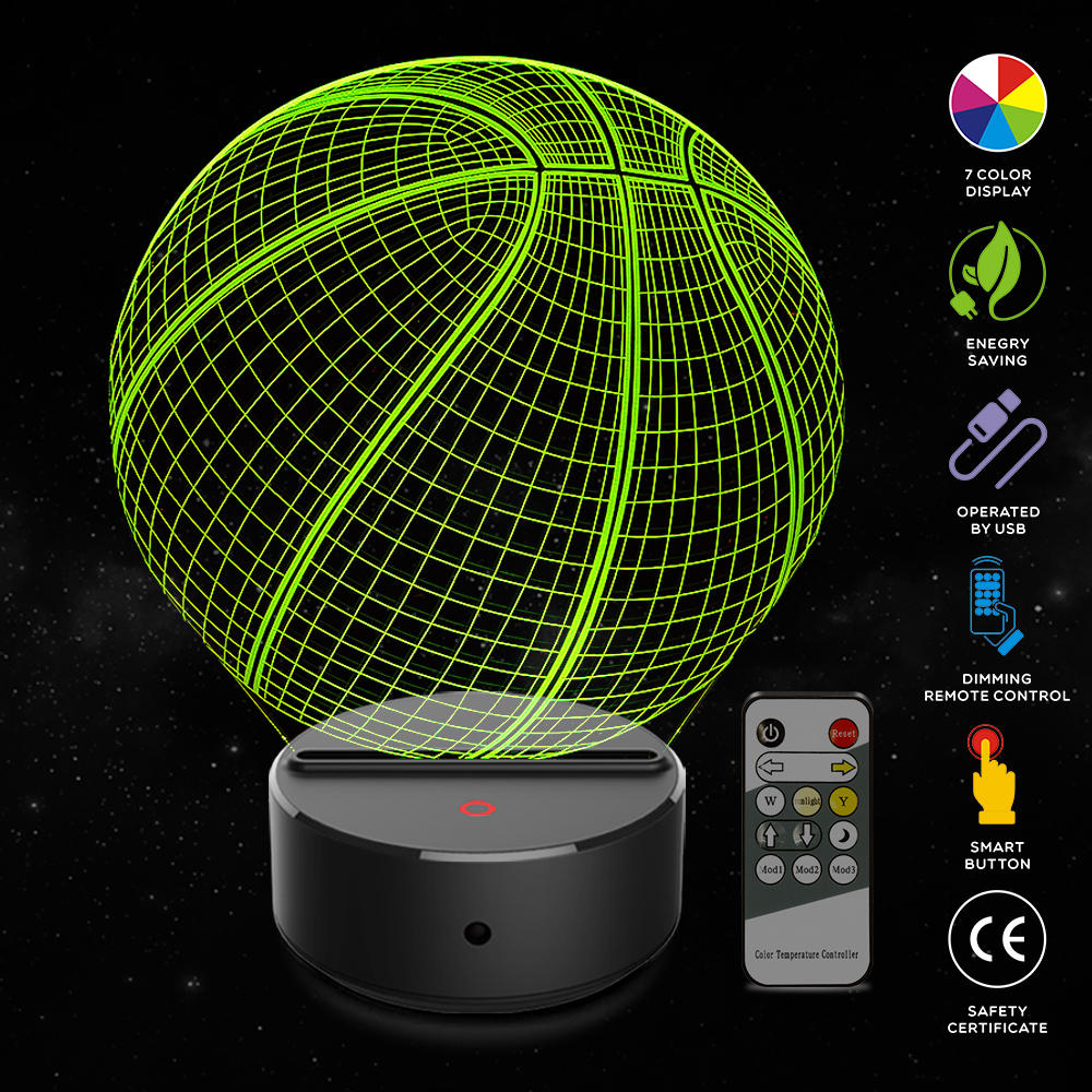 Basketball Shape 3D Illusion Lamp 7 Color Change Touch Switch LED Night Light Acrylic Desk Atmosphere Novelty Lighting