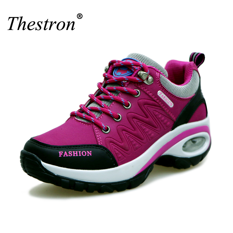 Waterproof Hiking Shoes Women Height Increasing Climbing Mountain Shoes Women Purple Gray Red/Black Leather Outdoor Hiking Boots