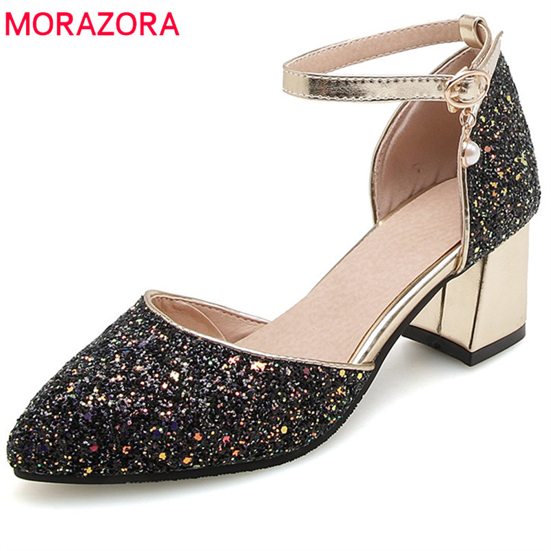 MORAZORA 2018 new style sequined cloth women pumps elegant pointed toe summer shoes party wedding shoes high heels shoes