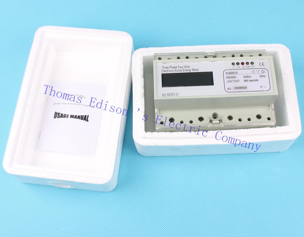 Din rail Three phase KWH energy meter digital 5 to 30 ampere 5(30) Watt LCD 380V power meter  watt meter energy meter