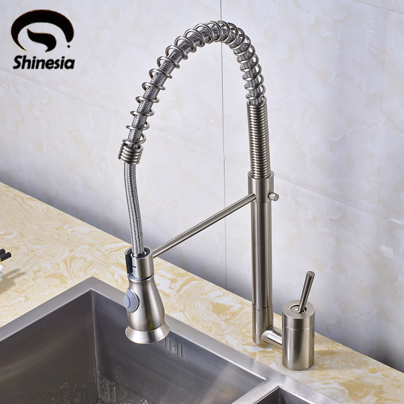 Good Quality Nickel Brushed Pull Out Spring Kitchen Faucet Swivel Spout Vessel Sink Mixer Tap led spout swivel spout kitchen faucet vessel sink mixer tap chrome finish solid brass free shipping hot sale