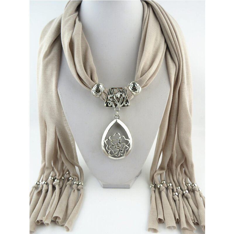 Fashion women black tassel floral jewelry pendant scarf necklace fashion women black tassel floral jewelry pendant scarf necklace lady cotton necklaces scarves wholesale in scarves from womens clothing accessories on aloadofball Choice Image