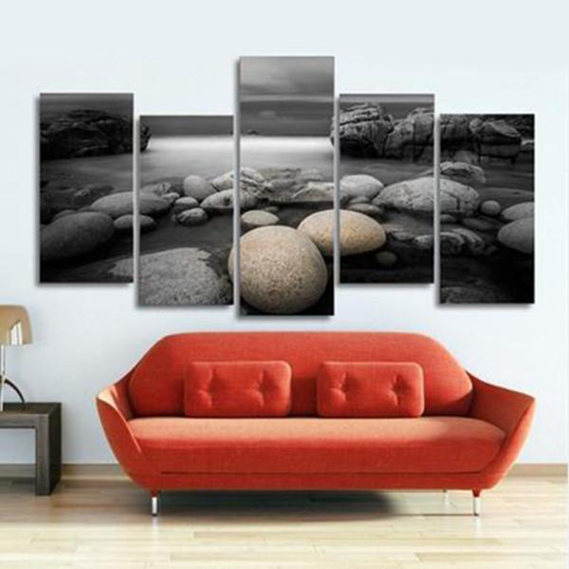 Modular Canvas Paintings Wall Art HD Prints Poster 5 Pieces Beach Pebbles Stones Pictures For Living Room Home Decor Framework