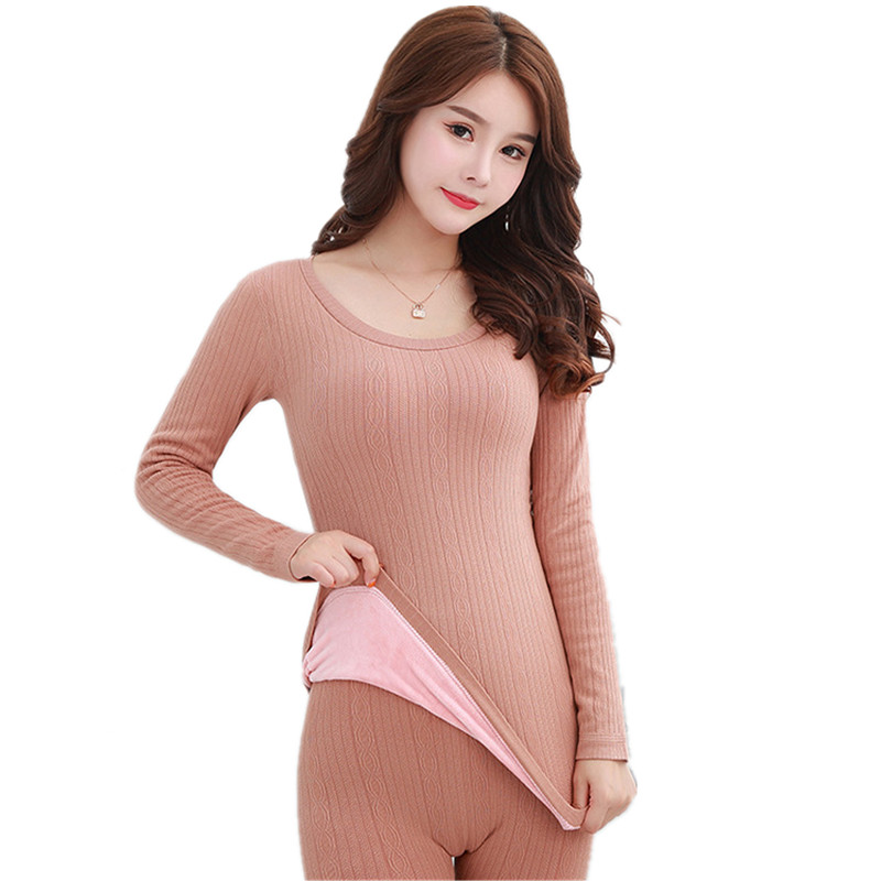 New Winter Thermal Underwear Women Wool Eamless Long John Women Set Velvet Thick Second Thermal Female Skin Fleece Two Piece Set