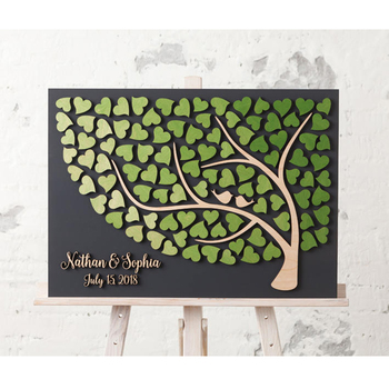 Personalized 3D Wedding Guest Book Sign, Alternative Guest Book Wedding, Custom Rustic Tree Of Life Guestbooks with Name & Date