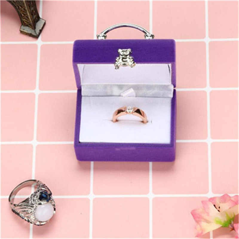 Luxury Jewelry Square Gift Box Women bag shape Earrings Rings Jewelry Packaging Display Travel Portable Wedding Bridal Box 2018