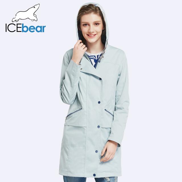 ICEbear 2017 Women Autumn Long Trench Coat For Women Full Sleeve Drawstring Waist Coats Single Breasted