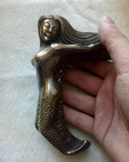 Cina Tua Perunggu Buatan Tangan Carved Belle Nude Mengumpulkan Patung Berjalan Tongkat Kepala