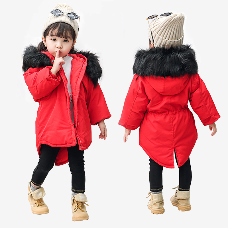 2018 New Jackets Girls Winter Thick Coat Cotton Padded Big Fur Collars Hooded Kids Jacket for Girls Children Clothing Parkas 2018 new winter big girls warm thick jacket outwear clothes cotton padded kids teenage coat children faux fur hooded parkas p28