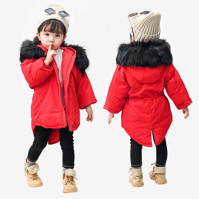 189e6333c 2018 New Jackets Girls Winter Thick Coat Cotton Padded Big Fur ...