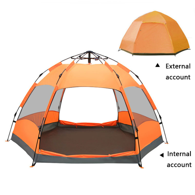 Multi-person automatic outdoor camping beach park leisure tent Hexagon tent Double layerMulti-person automatic outdoor camping beach park leisure tent Hexagon tent Double layer