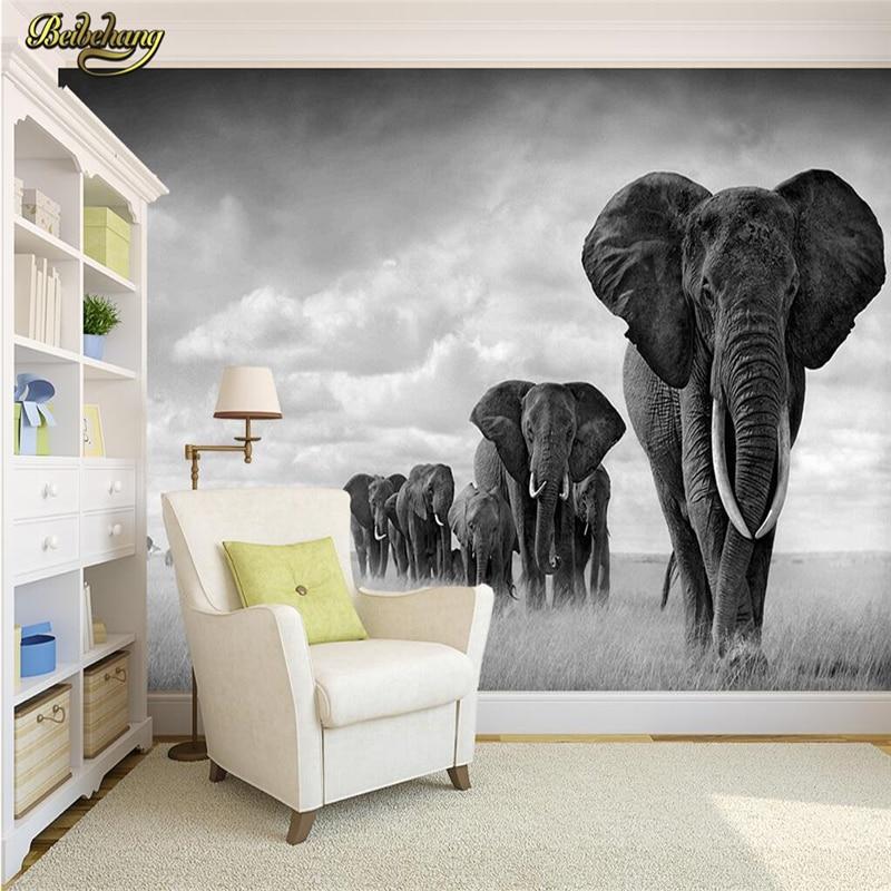 Beibehang Custom Black White Animal Elephant Large Mural Wallpaper Living Room Sofa Bedroom TV Background Photo Wall Paper Roll