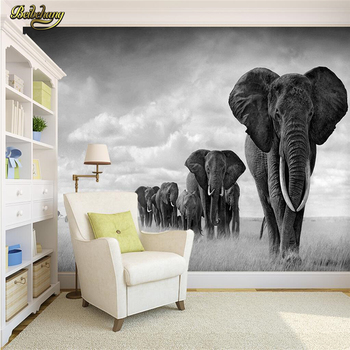 beibehang Custom Black white animal elephant Large Mural Wallpaper Living Room Sofa Bedroom TV Background Photo Wall Paper roll paysota vintage wood grain grey wallpaper bedroom living room sofa background wall paper roll