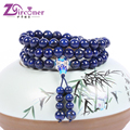 ZIRCONER Natural Lapis Lazuli Beaded Fashion Bracelets Cloisonne beads Multi-layer Strand bracelets Trendy Jewelry