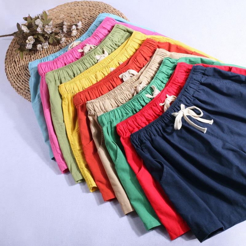 Plus Size M-7XL Spring Summer Fashion Casual Cotton Linen   Shorts   Elastic High Waist with Drawstring Loose Wide Leg Women   Shorts
