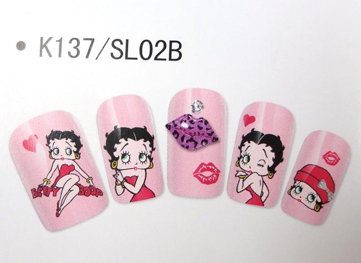 Promotie 3d Nail Decals Kleurrijke Betty Boop Prinses Decoratie Nail