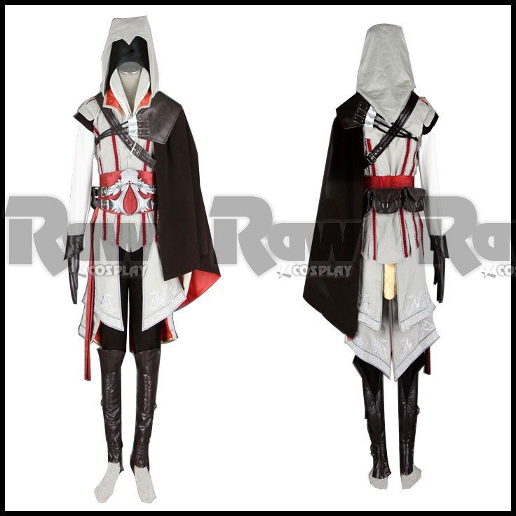 Assassin/'s Creed 2 Ezio Cosplay Costume Halloween  Mens full Outfit suits White