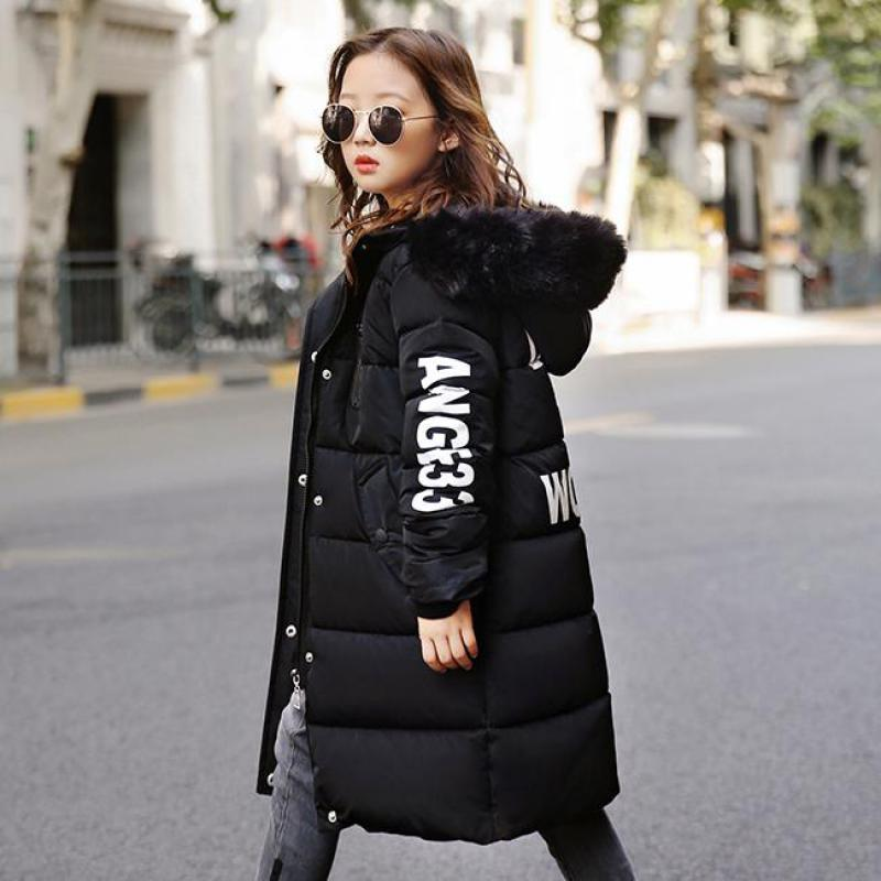 Winter Jacket Girls Coat 2018 New Fashion Kids Winter Jacket Kids Warm Thick Fur Collar Hooded Long Down Coats For Teenage Tops цена