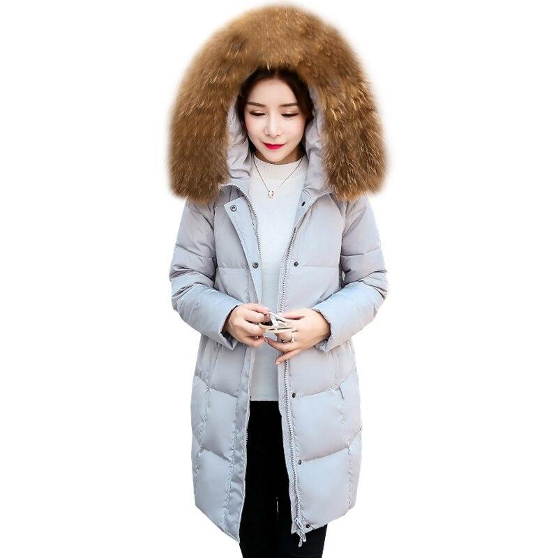 Snow warm long winter womens whiter duck   down     coats   big fur collar hooded   down     coat   female thicker long parkar plus size QH0870