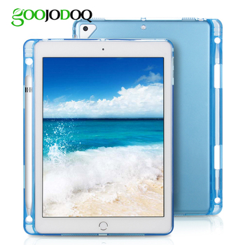 GOOJODOQ for iPad Pro 10.5 Case with Pencil Holder Transparent Silicon TPU Soft Back Shell Ultra-Thin Cover for Apple iPad 10.5