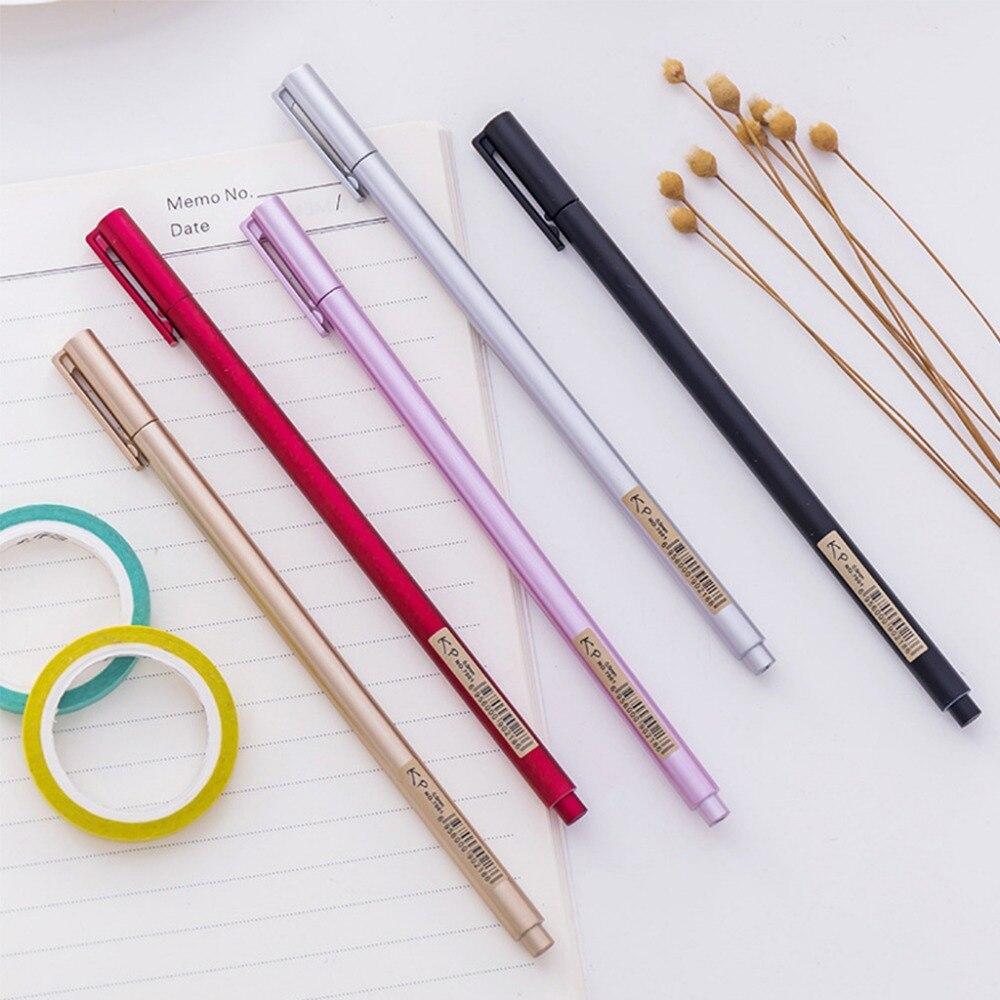 5Pcs 0 5mm Metallic color simple neutral pen fashionable business gel pen set office supplies Escolar Papelaria in Gel Pens from Office School Supplies