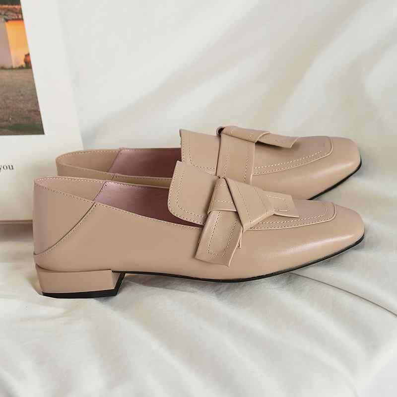 Krazing 냄비 높은 패션 정품 가죽 슬립 펌프 여성 광장 발가락 영국 학교 큰 크기 43 42 41 bowtie 브랜드 신발 l52-에서여성용 펌프부터 신발 의  그룹 3