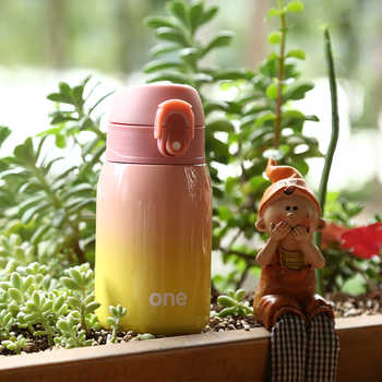 ONE 260/320ml Vacuum Flasks Lady Thermos Gradient Color Lock Thermos Mini Tumbler SUS 304 Eco Friendly Belly Cup Cute Bottle