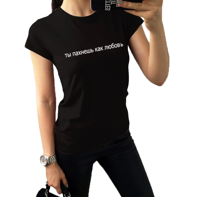 e18209cf Fashion Summer T Shirt Women Tops Russian Letter Print Black White Funny T  Shirts Kawaii T