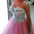 Bling do Cristal Longas Mangas Illusion Colher Vestidos de Baile Puffy Bola vestido de Tule Rosa 2016 Vestido De Festa Vestido de Festa Para mulheres