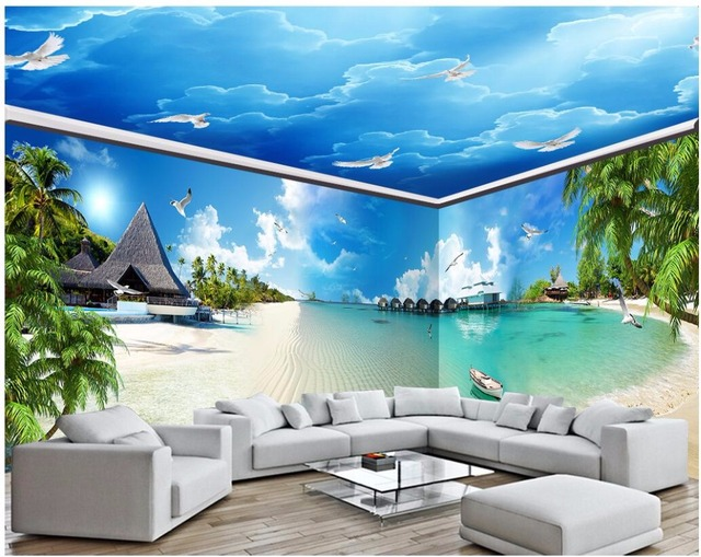 3d kamer behang custom photo blauwe zee strand full house