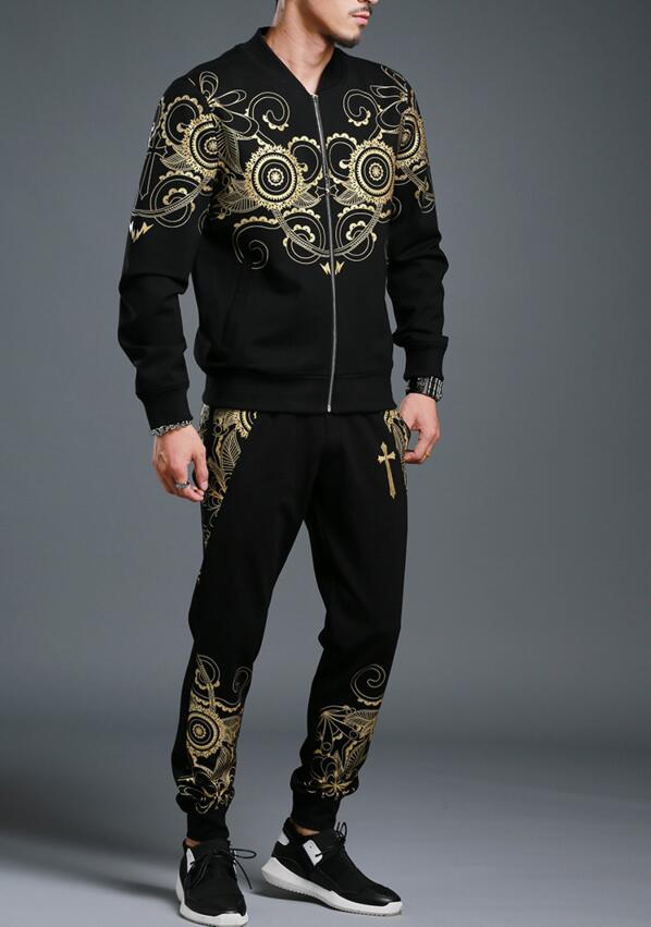 Hot Sale Top Quality Men Tracksuits Sets New Printing Design 2018