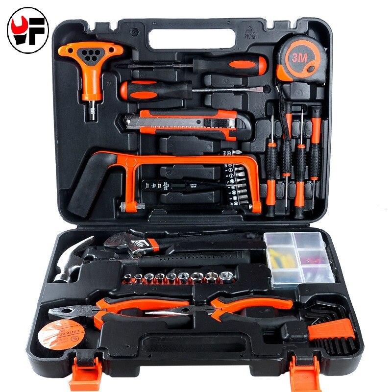 82 pièces ensemble d'outils de réparation automatique clé à douille dynamométrique pince marteau scie outil à main pour le travail des métaux ensemble d'outils ménagers clés universelles