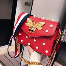 2019 new Korean version all-matching bee bag rivet small square bag simple single-shoulder crossbody chain  handbag purse цены онлайн