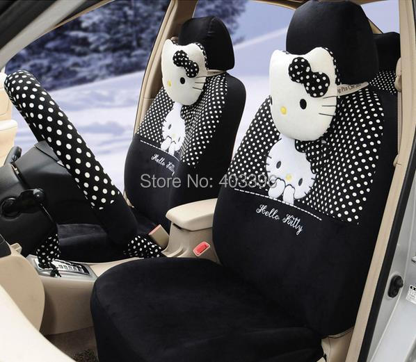 FREE SHIPPING 18 PCs Hello Kitty UNIVERSAL Black And White Polka Dot Car Seat Covers Steering